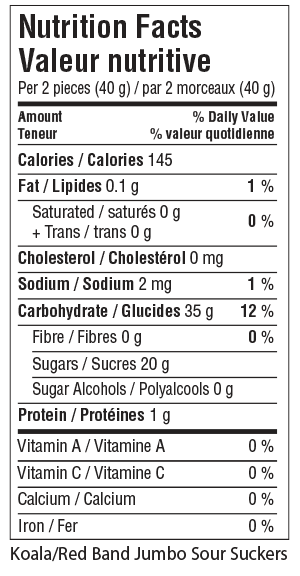 Koala Red Band Jumbo Sour Suckers Nutrition Facts