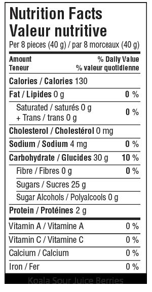 Koala Sour Juice Berries Nutrition Facts
