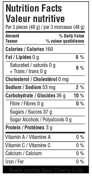 Koala Jumbo Sour Cherry Cola Nutrition Facts