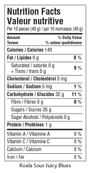 Koala Sour Juicy Blues Nutrition Facts