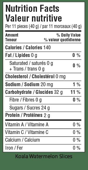 Koala Watermelon Slices Nutrition Facts