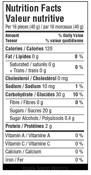 Koala Neon Worms Nutrition Facts