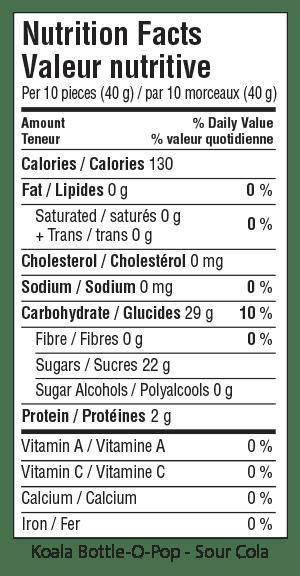 Koala Bottle-O-Pop-Sour Cola Nutrition Facts