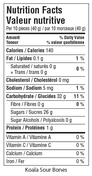 Koala Sour Bones Nutrition Facts