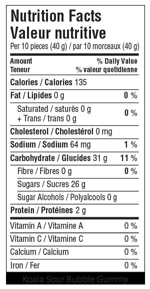 Koala Sour Bubble Gummy Nutrition Facts
