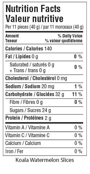 Koala Watermelon Slices Nutrition Facts