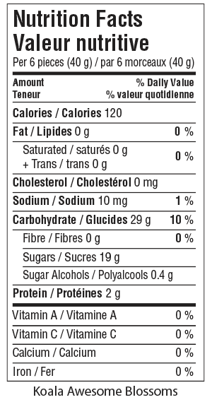 Koala Awesome Blossoms Nutrition Facts