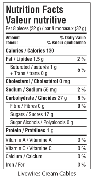 Livewires Cream Cables Nutrition Facts